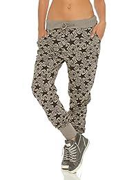 Damen Jersey Freizeithose Hose mit Leoparden Muster ITALY FASHION