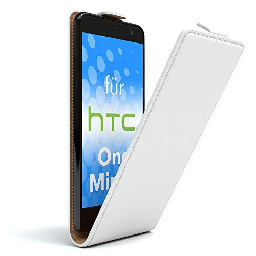 EAZY CASE HTC One Mini 2 Hülle Flip Cover zum Aufklappen, Handyhülle aufklappbar, Schutzhülle, Flipcover, Flipcase, Flipstyle Case vertikal klappbar, aus Kunstleder, Weiß