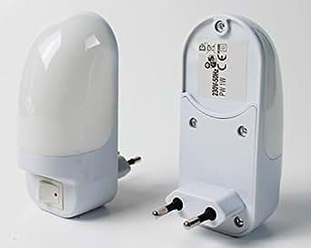 LED Lumière de nuit avec se met en sécurité pour enfant Lampe prise de courant Lampe d'éclairage de Secours