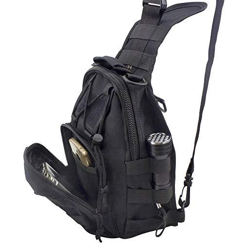 Shuweiuk Tactical Sling-Rucksack Militär Schulter Kasten EDC-Tasche für Outdoor-Sport Camp Wandern, schwarz - 5