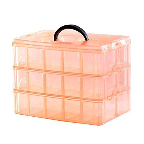 KAMAY \'S 3Ebenen verstellbar Bead Craft Schmuck Werkzeug Aufbewahrungsbox, Organizer, mit 30Fächern, Container Box Extra Large 3 Tier 30 Compartments Color