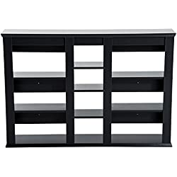 HOMCOM Estantería Colgante de Pared tipo Librería con 10 Estantes Organizadores para Libros y CDs 120x21x83cm Color Negro y Material de Madera