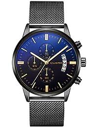 Daringjourney Reloj de hombre, reloj de cuarzo, preciso a milisegundos, caja de aleación, cinturón de malla de aleación,…