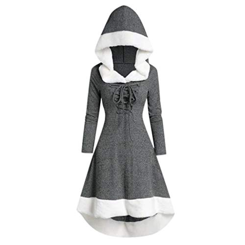 Kingko Weihnachten Damen Vintage Mantel Kostüme Lace Up Hooded Pullover Bandage Lange Kleid Umhang unregelmäßigen Saum Damen Mantel Kleider Elegant Winter Klassische Vintage Kleider (XL, grau)