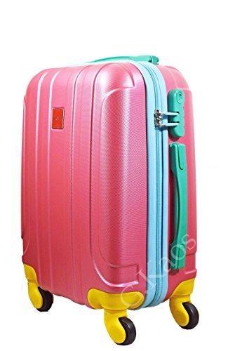 Trolley da cabina 50 cm valigia multi colore rigida 4 ruote in abs policarbonato antigraffio e impermeabile compatibile voli lowcost come Easyjet Rayanair art. XX23 (Pink)