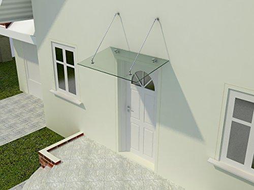 Glasvordach Zugstreben 120 cm Tiefe - Haustürüberdachung aus Sicherheitsglas für einen modernen und geschützten Eingangsbereich, Glasart:Klarglas, Größe:200 x 120 cm