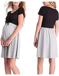 Alexsix Mujer Maternidad Dama Vestido de Manga Corta Cuello Redondo Lactancia Materna Enfermería Embarazada