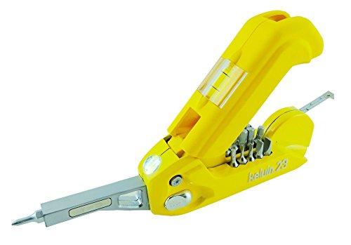 Outil multifonction Kelvin - 23 outils intégrés : 16 embouts de tournevis, mètre ruban, niveau et marteau - Jaune