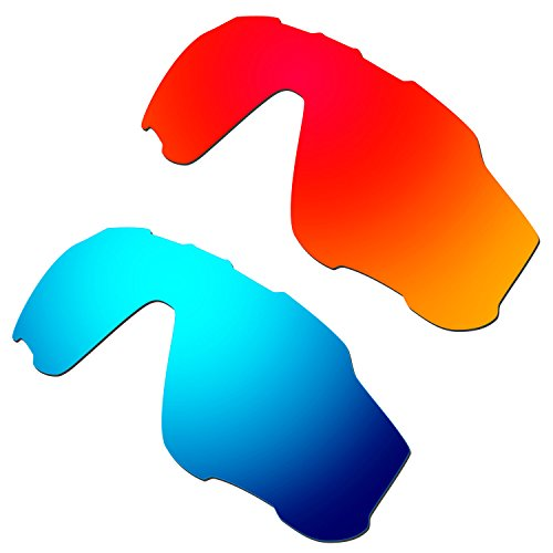 HKUCO Mens Replacement Lenses For Oakley Jawbreaker Sunglasses Red/Blue Polarized
