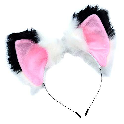 UPLEYING Cat Fox Ohren Stirnband Cosplay Kostüm Velet Kopfdekoration Mädchen Frauen (B)