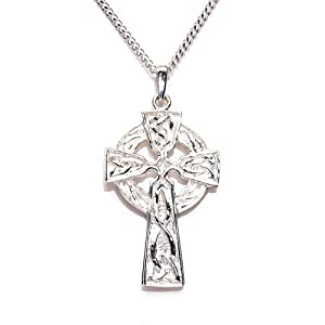 MiChic Jewellery Silver Large Celtic Cross Pendant with 46 cm Chain