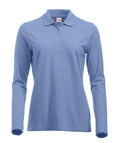 Langärmliges, klassisches Polo-Shirt für Damen, Baumwolle, moderne Passform, 11lebendige Farben, XS-XXL Gr. M, hellblau