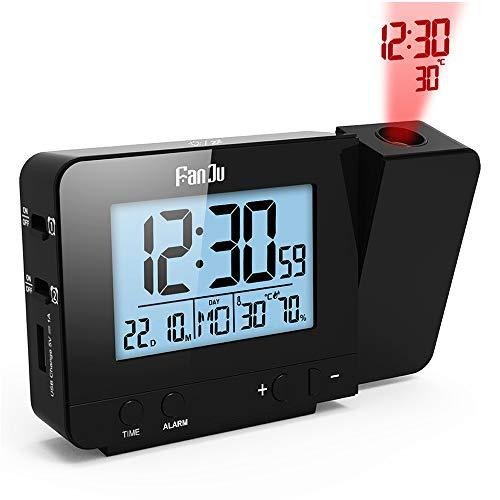 Despertador Proyector, Despertador Reloj Digital de Proyección Proyección de temperatura y tiempo/Puerto del cargador USB /Temperatura interiores/Ajuste de tiempo manual/ Alarmas dobles con repetición
