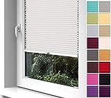 Home-Vision Premium Plissee zum Anschrauben in der Glasleiste Innenrahmen (Creme, B70cm x H100cm) Blickdicht Plissee Jalousie mit Halterungen zum Bohren, Sonnenschutzrollo Rollo
