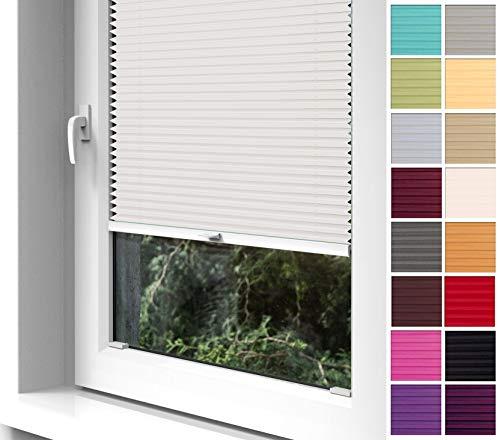Home-Vision Premium Plissee zum Anschrauben in der Glasleiste Innenrahmen (Creme, B90cm x H120cm) Blickdicht Plissee Jalousie mit Halterungen zum Bohren, Sonnenschutzrollo Rollo