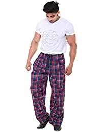 Twist Men's Navy Blue And Red Checked Pure100% Cotton Pyjama Sleepwear Night Wear With Contrast & Free Shipping