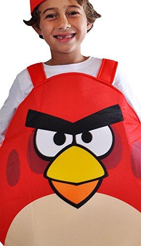 erdbeerloft - Angry Bird Red Unisex Overall Kostüm- Umhang Schaumstoff, 7-9 Jahre, rot (Red Bird Kostüme)