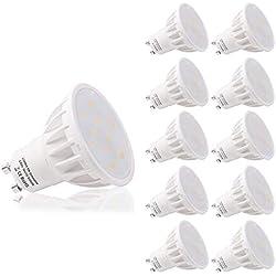LOHAS GU10 LED Lampen, 6W, 6000K Kaltweiß Licht, 50W Halogen Lampen Äquivalent, 500LM, Dimmbar, Für Galerie und Zuhause Innendekoration, 120 Grad Abstrahlwinkel, Passend zu AC 220~240V, 10er-Pack