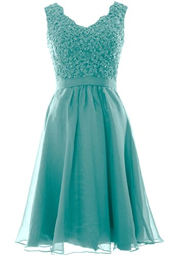 MACloth Women V Neck Vintage Lace Chiffon Short Prom Dresses Wedding Party Gown (EU36, Turquoise)