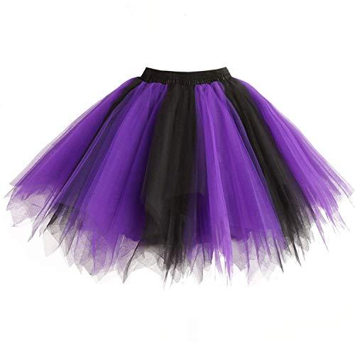 DresseverBrand Damen Petticoat 50er Rockabilly Jahre Retro Tutu Ballet Tüllrock Cosplay Crinoline Purple-schwarz Large/X-Large