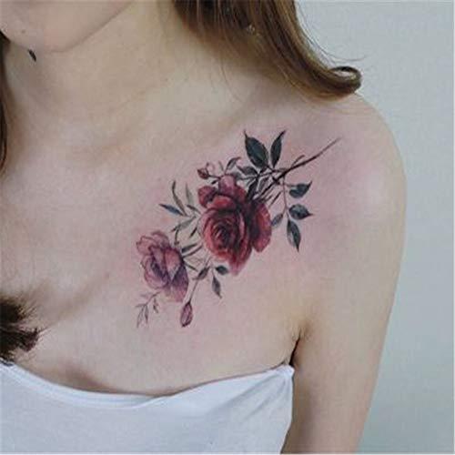 BARBEDINGROSE Tattoo Wasserdicht Temporäre Tattoo Brust Rose Art Tattoo-Aufkleber, Punk-Trend