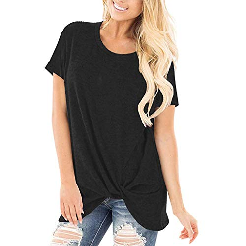 ESAILQ Frau LäSsige Solid Color Kurzarm O Neck Bluse Twist Verknotet Tops T-Shirt(X-Large,Schwarz)