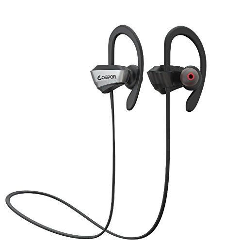 COSPOR Bluetooth Kopfhörer, leichte drahtlose Kopfhörer, Sweatproof Sport Kopfhörer mit Mikrofon Geeignet für Laufen, Radfahren, Fitnessstudio, Reisen und Mehr-Schwarz