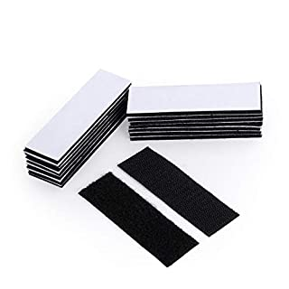 [16 Pack] No Nails Extra Strong Sticky Pads Heavy Duty, Double Sided Adhesive Sticky Hook Loop Mounting Wall Pads, Fastener Tape Damage-Free for Walls,Floor, Door, Glasses, Carpets (30x100mm,Black)