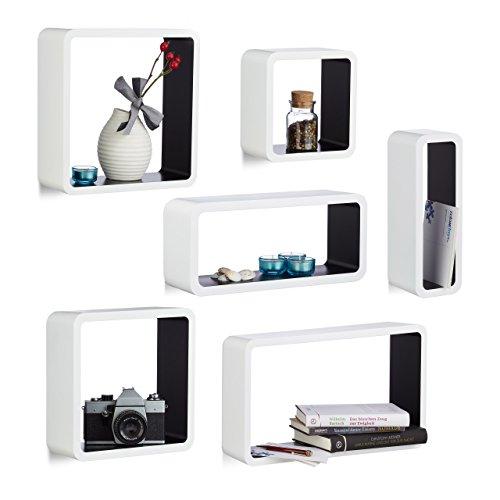 Relaxdays set 6 mensole da muro laccate, cubi da parete in varie misure, legno mdf, porta cd, dvd, per soggiorno, cameretta, bianco-nero