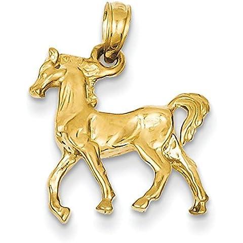 14K oro solido Lucidato 3-Diamensional Cavallo Ciondolo–Misure 19,6x 16.4mm
