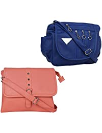 Fillincart Women Blue And Tan Colour PU Material Pack Of 1 Sling Bag And 1 Back Pack