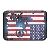 QUEEKINWANG Dirt Bike American Flag Non-Slip Indoor/Outdoor Door Mat Rug for Health and Wellness Kitchen Hallway Bath Office Bathroom Doormat 23.6