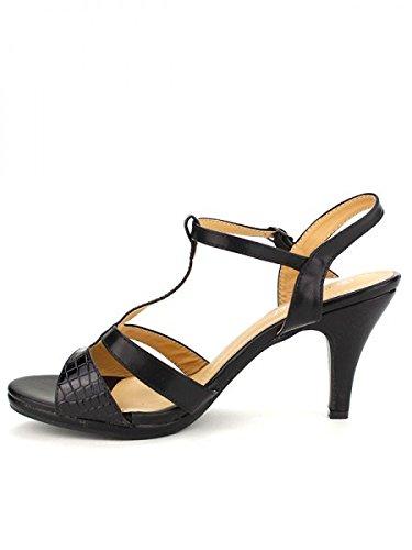 Cendriyon, Sandale BELLELI Croco Black Chaussures Femme Noir
