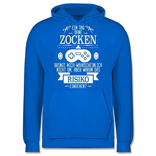 Shirtracer Nerds & Geeks - EIN Tag ohne Zocken - XL - Himmelblau - JH001 - Herren Hoodie