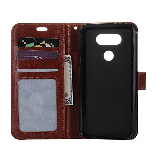 LG G5 Cover Case Pelle HuaForCity® Portafogli Custodia in Pelle PU Copertina con Slot per schede Magnetica Flip Chiusura Stile del Libro Supporto Funzione Bumper Caso for iphone LG G5 Brown
