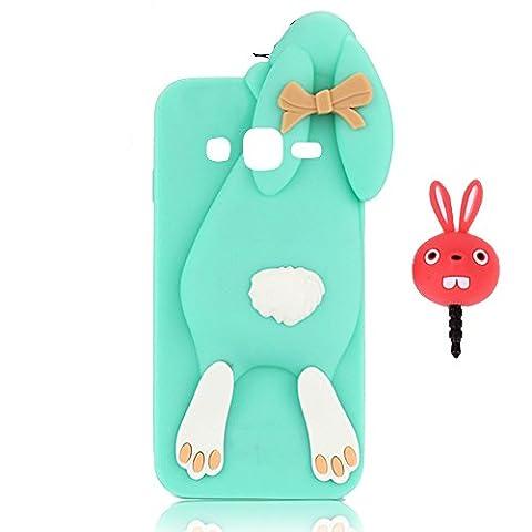 Vandot étui Housse Coque pour Samsung Galaxy Grand Prime SM-G530 3D Lovely Foldable Rabbit Bunny Case TPU Coque Téléphones De Lanyard Pour Samsung Galaxy Grand Prime SM-G530 Couvrir Couverture Cover + Red Rabbit Bouchon Anti-poussière Plug Anti-Dust Cap Plug - Lapin-Vert