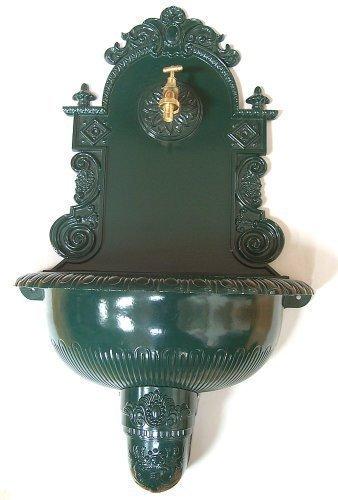 Nostalgie fontaine murale en fonte d'aluminium vert fontaine résistant 75 cm