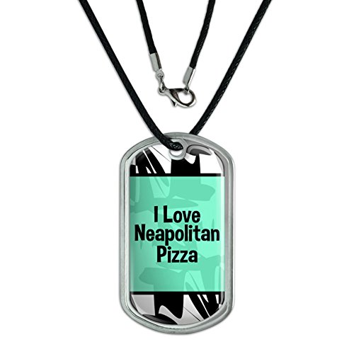 Graphics and More Dog Tag Pendant Necklace Cord I Love Heart Food N-P - Neapolitan Pizza