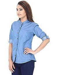 af317e81ea MONTREZ Women Solid Casual Denim Mandarin Shirt