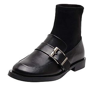 Shukun Stiefeletten Socken Stiefel Niedriger Absatz Gürtelschnalle Dünne dünne Stiefel Kurze Röhre Kurze Stiefel Weibliche Dicke Mit Flachen Socken Schuhe