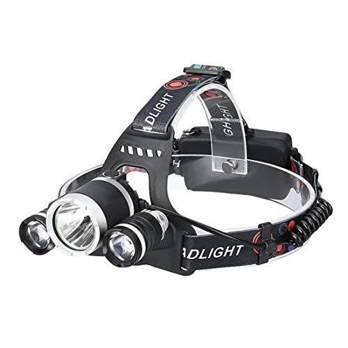 3 X T6 LED Scheinwerfer wiederaufladbar Outdoor Ultra Helligkeit Scheinwerfer mit 3 Licht Modi & Fixed Focus Long Shot Angel Lampe - schwarz