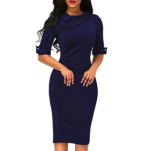 Business Dress, Women Retro Bodycon Below Knee Formal Office Dress Turn-down Collar Pencil Dress With Back Zipper (L, Navy)