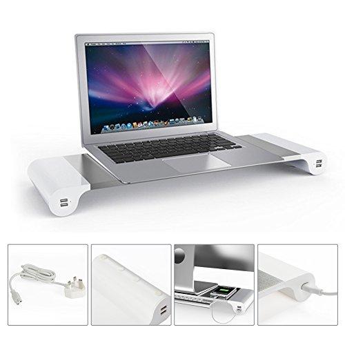Monitorständer, Aluminium Monitor Bildschirm Ständer Monitorerhöhung Bildschirmerhöher mit Keyboard Storage für Monitor/Laptop/Tablett/Apple Metall