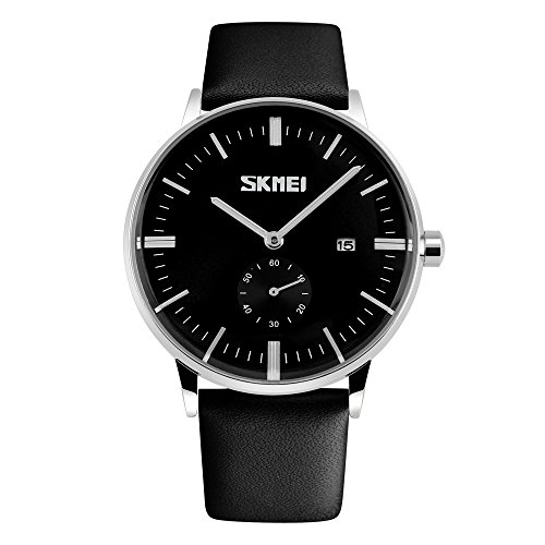 CIVO-Mens-Simple-Design-Black-Leather-Band-Wrist-Watch-Mens-Classic-Fashion-Dress-Analogue-Quartz-Wrist-Watches-30m-Waterproof-Luxury-Business-Casual-Wristwatch-Black-Sub-Dial-and-Date-Calendar