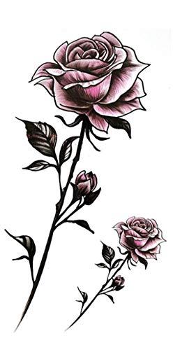 EROSPA® Tattoo-Bogen temporär / Sticker - 2 Rosen mit Stiel - Wasserfest -