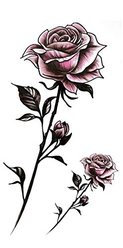 EROSPA® Tattoo-Bogen temporär / Sticker - 2 Rosen mit Stiel - Wasserfest (Tattoo Temporäre Rose)