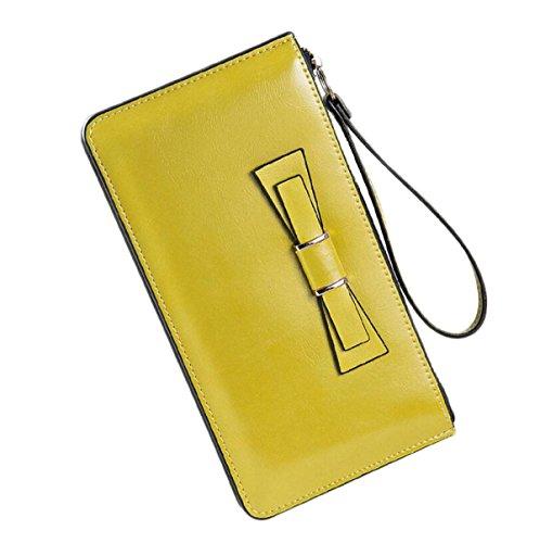 Ms. Sezione Cera Dell'olio Borsa Di Cuoio Raccoglitore Lungo Di Grande Capacità Del Telefono Frizione Yellow