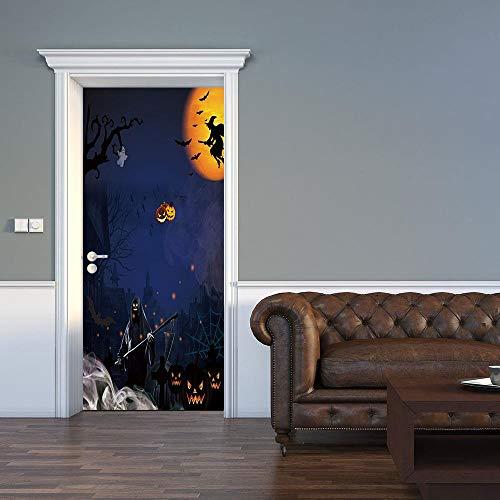 3d tür aufkleber halloween poster tapete stereo home hintergrund schlafzimmer tür dekoration selbstklebende pvc selbstklebende stereo er 77x200 cm (Halloween Mädchen Gibt 2 Es Arten Von)