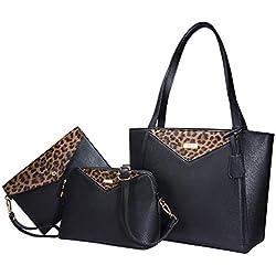 TIBES Bolso de mano de 3 piezas de moda bolso de leopardo bolso bolsos bolso de hombro E Negro