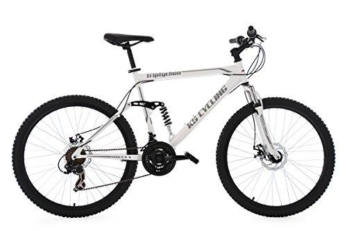 KS Cycling Herren Mountainbike Mtb Fully Triptychon RH 51 cm Fahrrad, Weiß, 26
